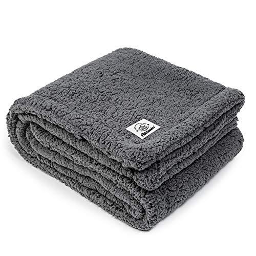 Allisandro hochwertige Hundedecke 【M 80x60cm】 Graue Decke Fleecedecke Sehr Soft Warm Premium Flauschig Deck für Welpe Kätzchen Doppelte Nutzung -