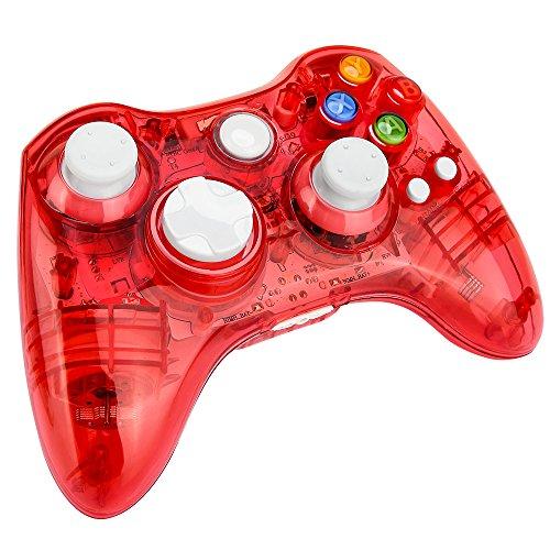 Prous Xbox 360 Controller XW21 Wireless PC Gamepad LED Controller Transparent Joystick für Xbox 360/PC - Rot (Drittanbieter Produkt)