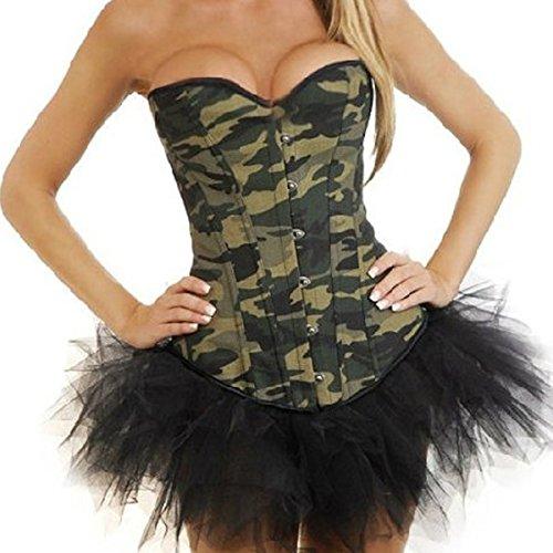 Denim Jean-Korsett Camo Camouflage Korsagen Mit Tutu rock Corsage EUR(34-36) M