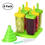 TOPELEK Eisformen 6 Eisformen Popsicle Formen Set, 6 Eis Pop Macher, LGFB Geprüft und Bra Frei, mit Reinigungsbürste und Falttrichter.