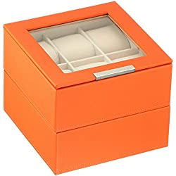 WOLF 319639 Stackable 6 Piece Watch Tray - Set of 2, Orange