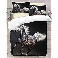 Adam Home 3D Digital Printing Bett Leinen Bettwäsche-Set Bettbezug + 2x Kissenbezug - Running Horse 1 (Alle Größen)
