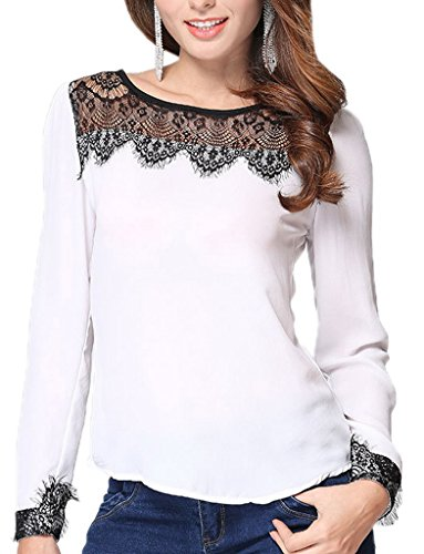 Bigood Femme Chemise Dentelle Chiffon Tops Manches Longue T-shirt Moulante Blanc