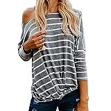 OSYARD Damen Pullover Oberseiten Sweatshirt, Sexy Mode Frauen Lose Langarm Bluse Tops T-Shirt Rundhalsausschnitt Strickpullover Gestreift Pulli Tunika Hemd Oberteile(S, Grau)