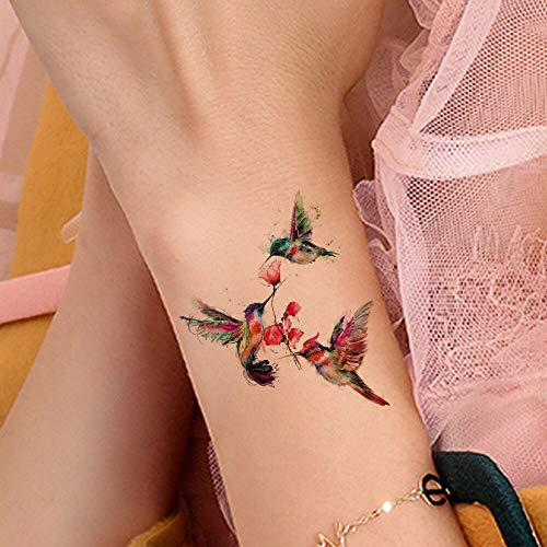tzxdbh 5 Stücke wasserdichte Humminbirds Handgelenk Arm Tattoos Temporäre Frauen Mädchen Body Art Tattoo Aufkleber Vögel Floral Benutzerdefinierte Tatoos (Tattoos Temporäre Floral)