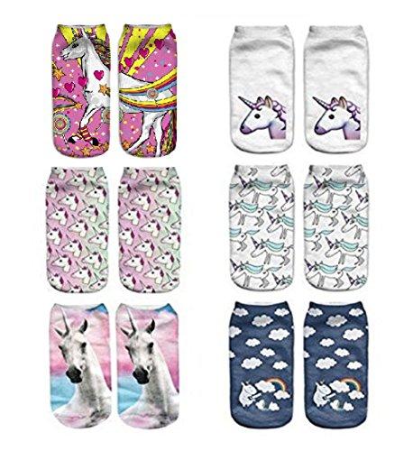 OAMORE 6pcs Diferentes patrones Dulce Unicornio hermoso Algodón Calcetines cortos Calcetines de deporte Para mujeres chicas