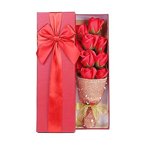 Rote Rosen Bouquet Geschenk Jahrestag Geschenke–Elegant Verpackt von 10Duft Rosen in bezauberndem Geschenk-Box Beste Geschenk für Jahrestag Geburtstag Mütter und (Elegante Rosen-seife)