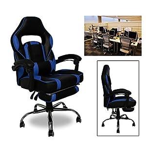 51Q9CyM uaL. SS300  - HG-Office-Silla-giratoria-Silla-para-juegos-Premium-Comfort-Apoyabrazos-acolchados-Silla-de-carreras-Capacidad-de-carga-200-kg-Altura-ajustable-negro-azul