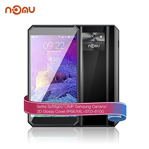 Outdoor Smartphone, NOMU M6 IP68 Schroffes Smartphone ohne Vertrag Wasserdicht/stoßfest/staubdicht (Android 7.0 4G LTE 5 Zoll HD Display, 2GB RAM+16GB ROM, 13MP Hauptkamera+5MP Frontkamera GPS FM Taschenlampe) Schwarz