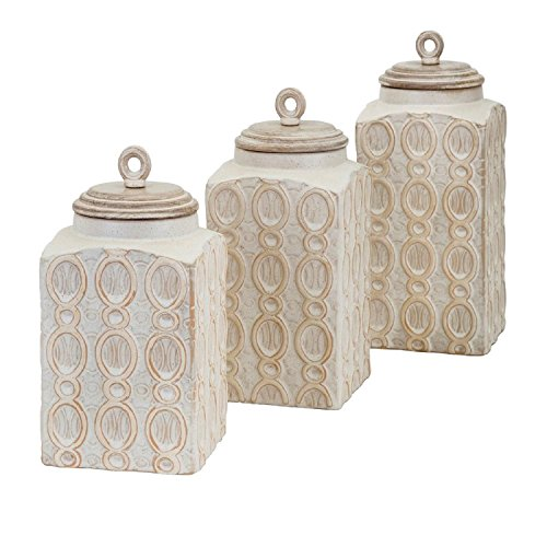Set Of 3 Lovely Loops Cream Distressed Finish Stylish Storage Canisters 11