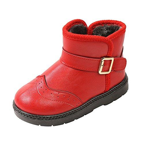 SITAILE Kinder Winterstiefel Schneestiefel Warme Rutschfeste Leder Stiefel Boots Kinderschuhe für Mädchen Jungen Outdoor Winter,Rot,33 (Boot Winter Kinder)