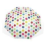 GUKENQ Reise-Regenschirm mit bunten Punkten, leicht, UV-Schutz, Sonnenschirm, für Herren, Frauen und Kinder, Winddicht, faltbar, kompakt