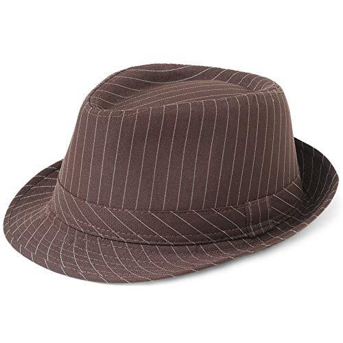 Coucoland Panama Hut Mafia Gangster Herren Fedora Trilby Bogart Hut Herren 1920s Gatsby Kostüm Accessoires (Kaffee Streifen) (Männer Hüte Jahren 1920er)