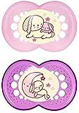 """MAM 707722 - Ciuccio """"Night"""" in silicone per bambine dai 16 mesi in su, senza BPA, confezione doppia, colori assortiti"""