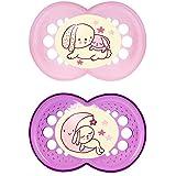 """MAM 703922 - Ciuccio """"Night"""" in lattice per bambine dai 16 mesi in su, senza BPA, confezione doppia, colori assortiti"""