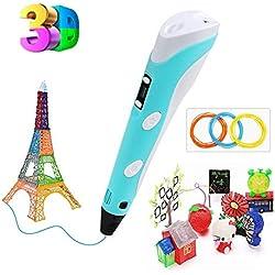 Plumas para impresión 3D, Enshant 3D Pluma Inteligente Pen Bolígrafo de Impresión Estereoscópica con Soporte de Seguridad para Crear y Modelar Figuras 3D para Dibujo 3D Garabatos 3D -Azul