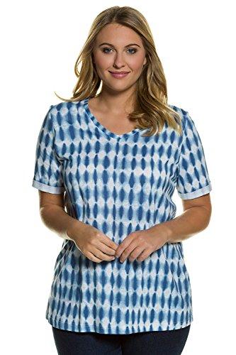 Ulla Popken Damen große Größen bis 62+ | V-Shirt mit Batik-Rhomben | Halbarm mit Umschlag, V-Ausschnitt | Regular Fit | 100% Baumwolle | 710507 helles blau
