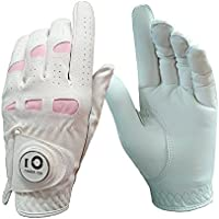 Finger Ten Ladies Women's Golf Gloves Left Hand Right Leather with Ball Marker Pack, Soft Cabretta Grip Fit Small Medium Large XL