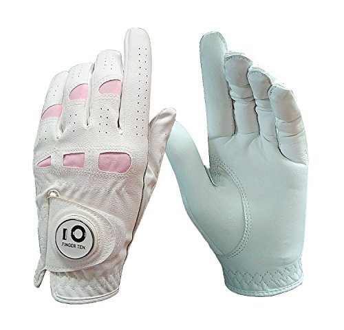 Finger Zehn neuen Frauen Damen Cabretta-Leder alle Wetter Grip Golfhandschuh mit magnetischer Ball Marker rechts oder links Hand LH RH Value Pack-Set, weiß (Custom-fit-handschuhe)