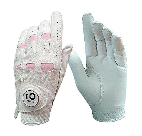 Dedo diez nuevas mujeres Ladies All Weather Grip de cuero cabretta guante de Golf con marcador de bola magnético izquierda o mano derecha, izquierda derecha Value Pack Set, blanco