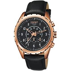 Esprit Colossal Men's Quartz Watch with Black Dial Analogue Display and Black Leather Strap ES105351004