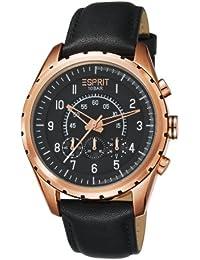 Esprit Colossal ES105351004 Herren-Armbanduhr, analoges Zifferblatt in Schwarz, Quarzwerk, Lederband Schwarz