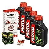 Ölwechselset Motul 5000 10W-40 Öl + HiFlo Racing Ölfilter für Suzuki GSX 750, Bj. 98-03 (Typ AE); Motoröl + Filter + Dichtring