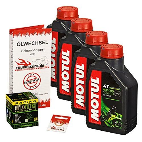Motul 10W-40 Öl + HiFlo Ölfilter für Honda CB 900 F Hornet, 02-06, SC48 - Ölwechselset inkl. Motoröl, Racing Filter, Dichtring