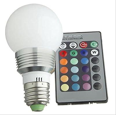 Wanway Aluminium 16 Color Changing RGB LED Light Bulb Change Lamp E27 3W + Remote Control