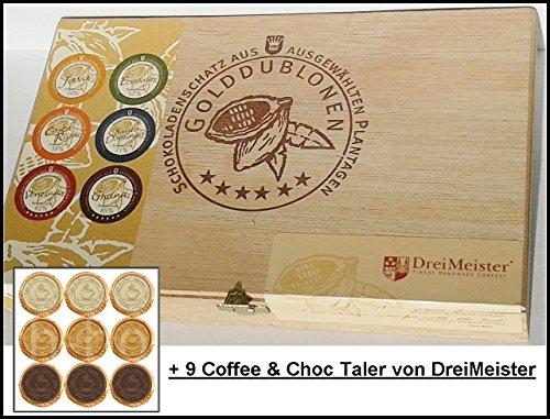 DreiMeister Golddublonen 6 Sorten im Holzkistchen und 9 Coffee & Choc Taler, kostenloser Versand