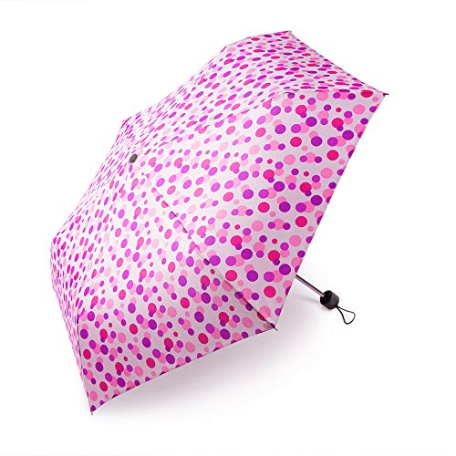 boy ® Regenschirm Für Mädchen und Jungen, Taschenschirm Klein Extra Leicht & Kompakt Reise Taschenschirm, 207g, Wellenpunkt Rosa -