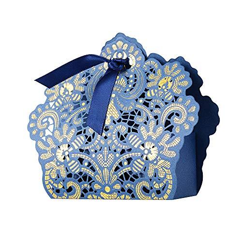 BUONDAC 50stk Bonboniere & 50stk Satinbänder Gastgeschenk Hochzeit Taufe Gastgeschenke Box Geschenkbox klein für Süßigkeiten Geschenkschachtel Pralinenschachtel leer (Blau)