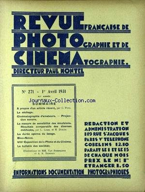 REVUE PHOTO CINEMA [No 271] du 01/04/1931 - M. PUYO
