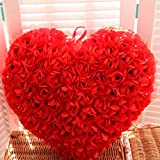 3D Rose Flower Lace Fluffy Throw Pillow Love Heart Shaped Decorative Cushions Valentines Day Wedding Gift, 15.7X13.7 In (Red)