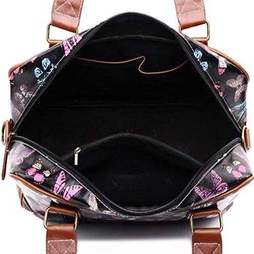 Miss LuLu Modern Schultaschen Cross-Body Tasche Schule Öltuch Handbag Wasserdicht Damen L1106-Schmetterling/Schwarz