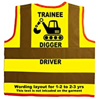Trainee Digger Driver Baby/Children/Kids Hi Vis Safety Jacket/Vest Size 2-3 Years Yellow Optional Personalised On Front