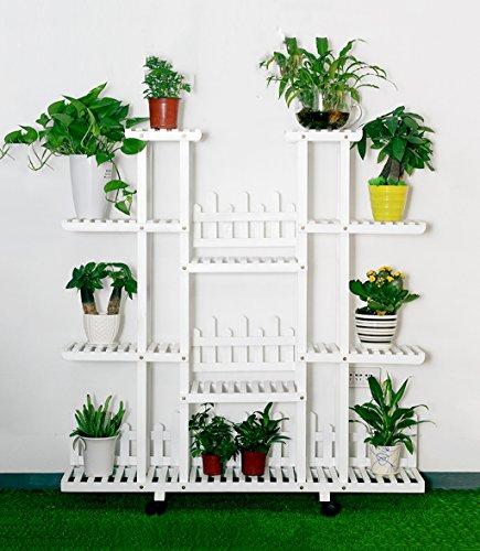 ZENGAI Porte-fleurs en bois massif Assemblée intérieur Présentoir de pot de fleurs blanc Roue mobile, 4 styles, hauteur 47,2 pouces (Couleur : D)