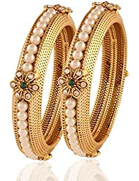 Rich Lady Traditional Bollywood Designer Gold Finishing White Pearl Stone Polki Bangles For Women & Girls