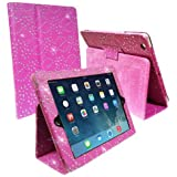 IPAD AIR PINK DIAMOND BLING SPARKLY CRYSTAL PU LEATHER MAGNETIC FLIP CASE COVER STAND SKIN BY Connect Zone�