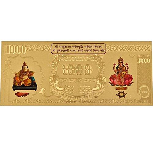 Odisha Bazar Kuber Lakshmi Währung Folie Note mit Umschlag zur Verbesserung von Wohlstand, Gold -