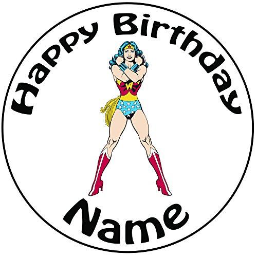 personalisierbar Wonder Woman Cake Topper, einem vorgeschnittenen Rund 20,3cm (20cm) Zuckerguss (Ideen Halloween Leicht Cupcake)