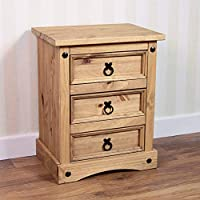 Vida Designs Corona Bedside Cabinet, 3 Drawer, Solid Pine Wood