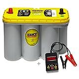 Optima Yellow Top YT S 5,5 - 12 V / 75 Ah - 975 A/EN inkl. Batterietester Auto KFZ Boot Caravan Versorgungsbatterie