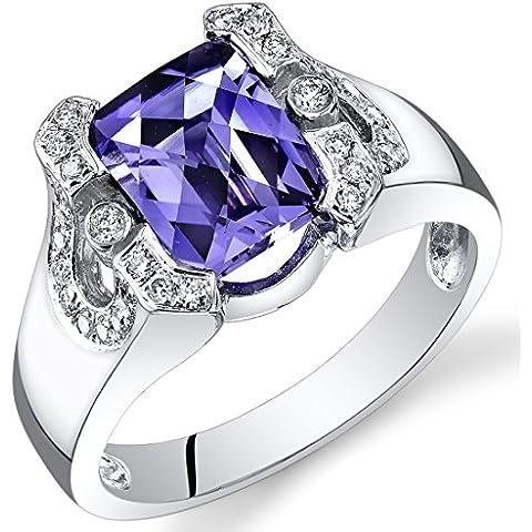 Revoni 14ct Oro Blanco Corte Esmeralda Alejandrita Diamond Ring (3,29quilates)