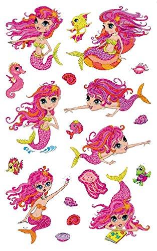 AVERY Zweckform 56061 Kinder Sticker Meerjungfrau (Glitzerfolie) 19 Aufkleber (Scrapbooking Sticker Meerjungfrau)