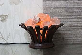High Quality Salt Lamps : By Magic Salt Himalayan Salt lamp in Flower shape wood Basket ,High Quality Chunks: Amazon.co ...