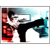 Imagen Bruce Lee 'Kicking Blue and Red' – 60 cm x 80 cm impresión sobre papel pintado autoadhesivo reposicional