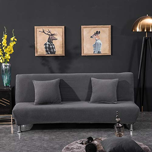 Sofá cama plegable simple de 155-185 cm, todo incluido, en color liso con gris oscuro,Funda elástica para sofá de 1 2 3 plazas, Cubierta Antideslizante en Tejido elástico Extensible, Protector de sof