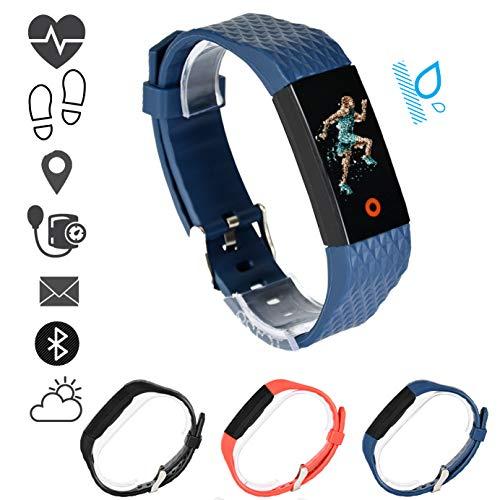 MSPORTS Fitness Armband Premium mit Puls- Blutdruckmessgerät und Pulsoximeter I Wasserdicht I Fitness Tracker - Smartwatch für Damen und Herren I Benachrichtigungsfunktion Pulsuhr (Königsblau)