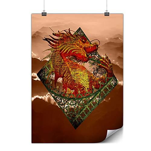 Wellcoda Asiatico Drago Matte/Lucido Poster A1 (84cm x 60cm)